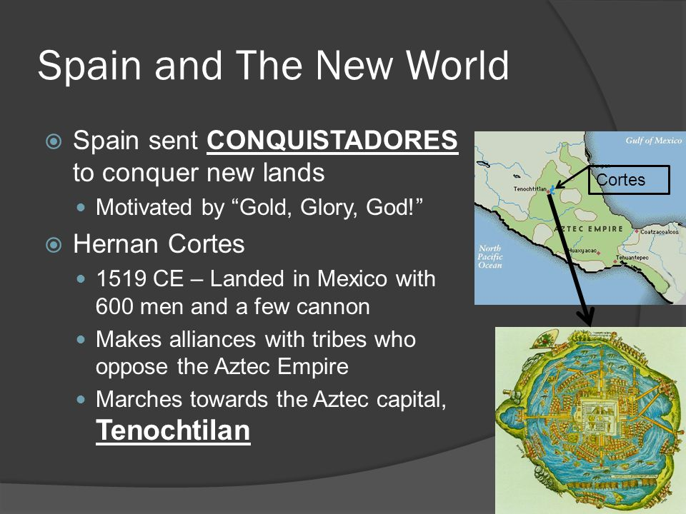 Spain and The New World Spain sent CONQUISTADORES to conquer new lands