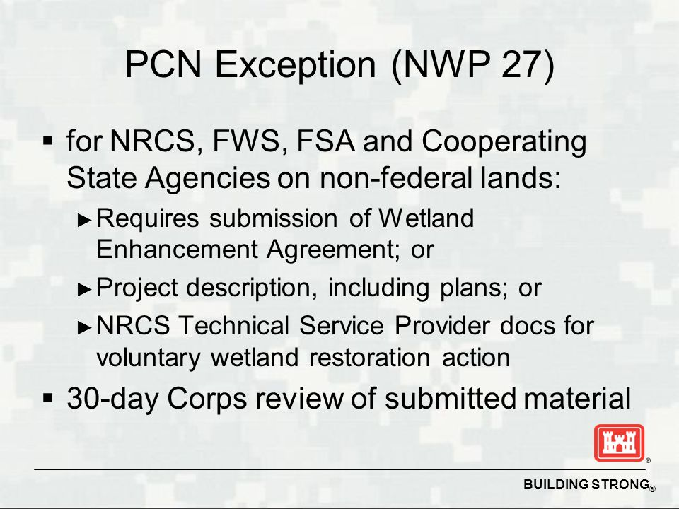 PCN Exception (NWP 27) for NRCS, FWS, FSA and Cooperating State Agencies on non-federal lands: