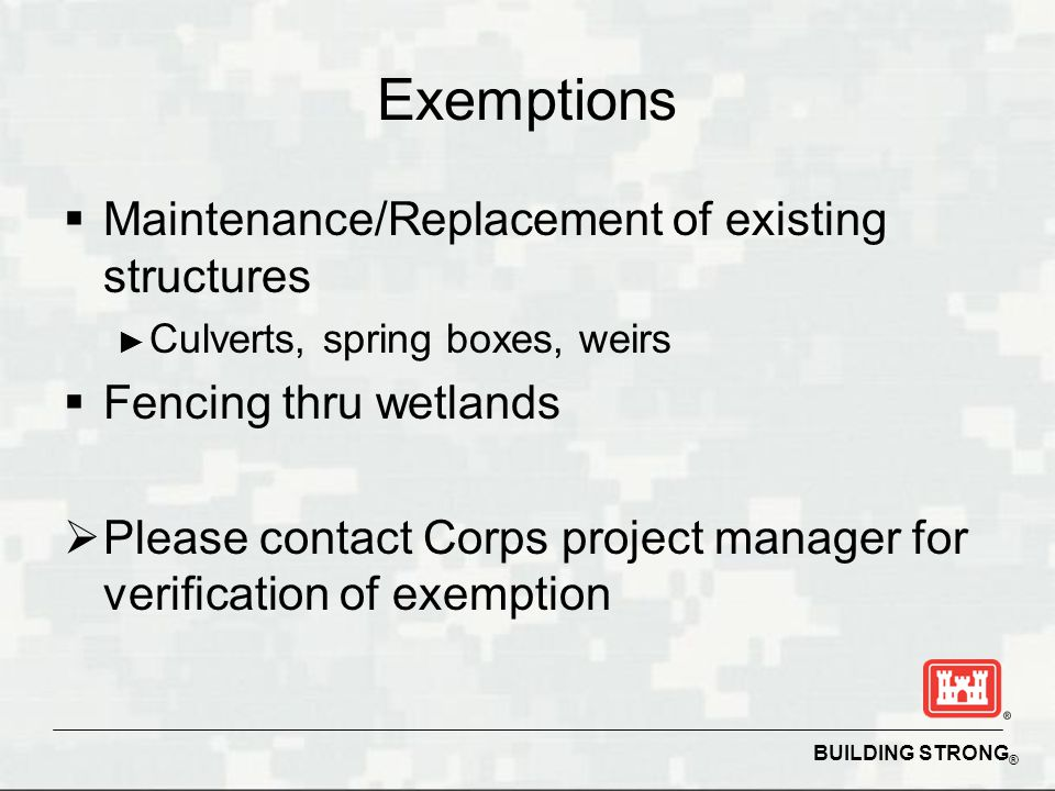 Exemptions Maintenance/Replacement of existing structures
