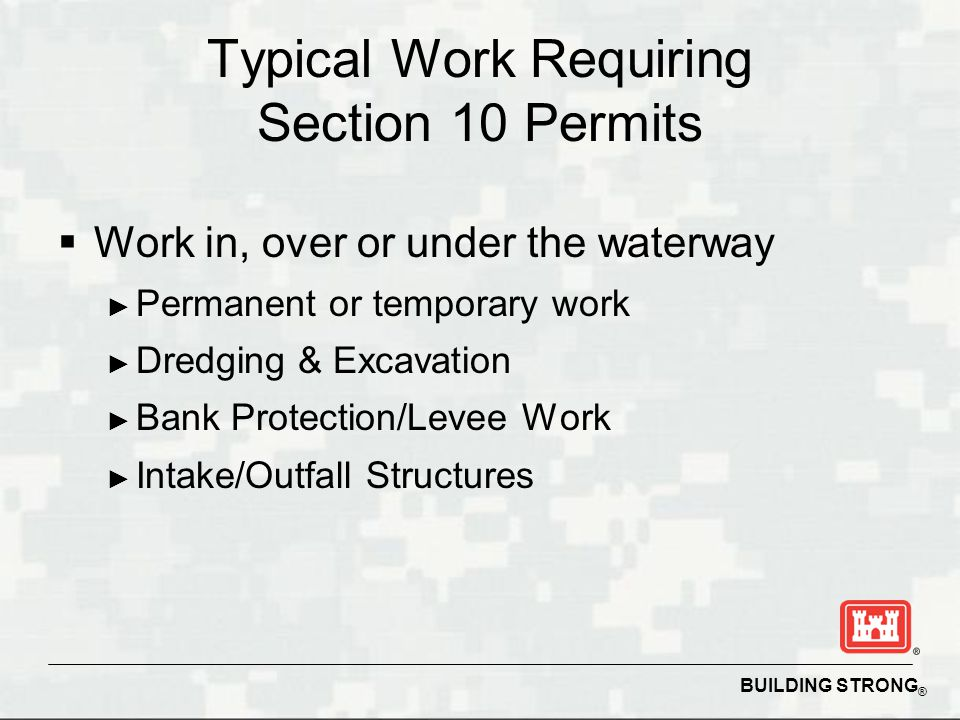 Typical Work Requiring Section 10 Permits