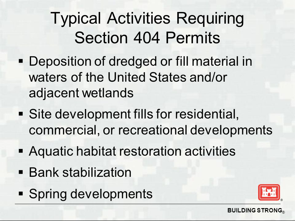 Typical Activities Requiring Section 404 Permits