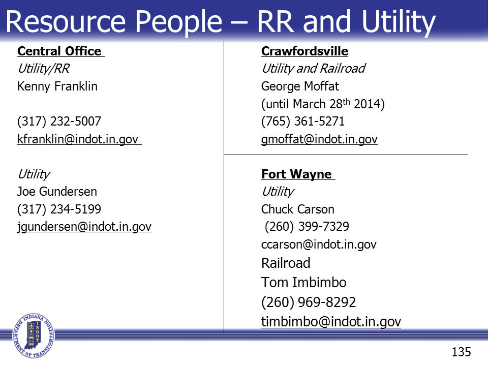 Resource People – RR and Utility