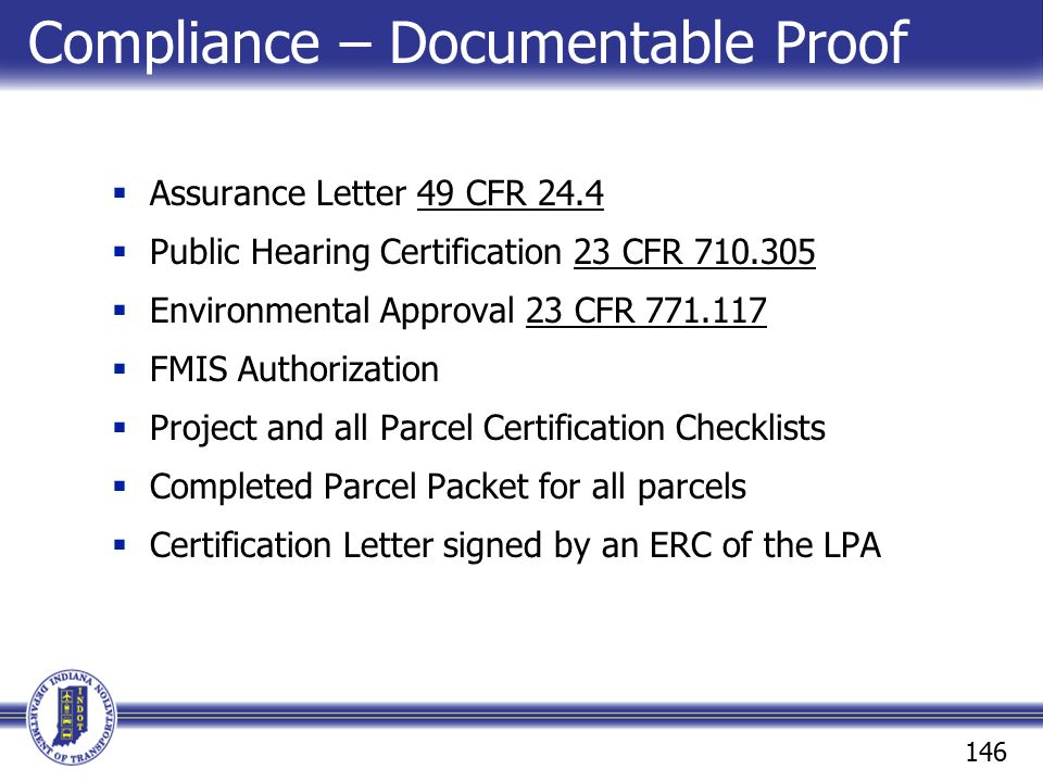 Compliance – Documentable Proof