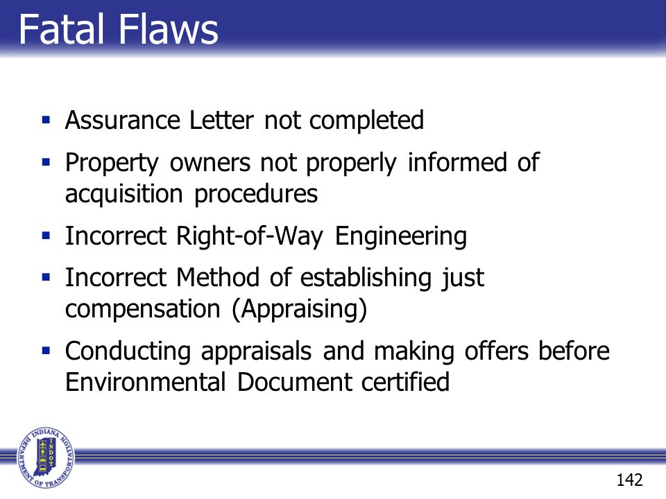 Fatal Flaws Assurance Letter not completed