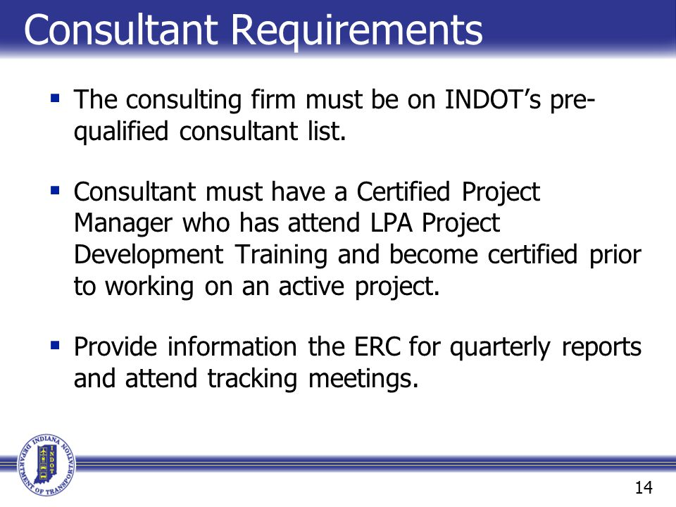 Consultant Requirements