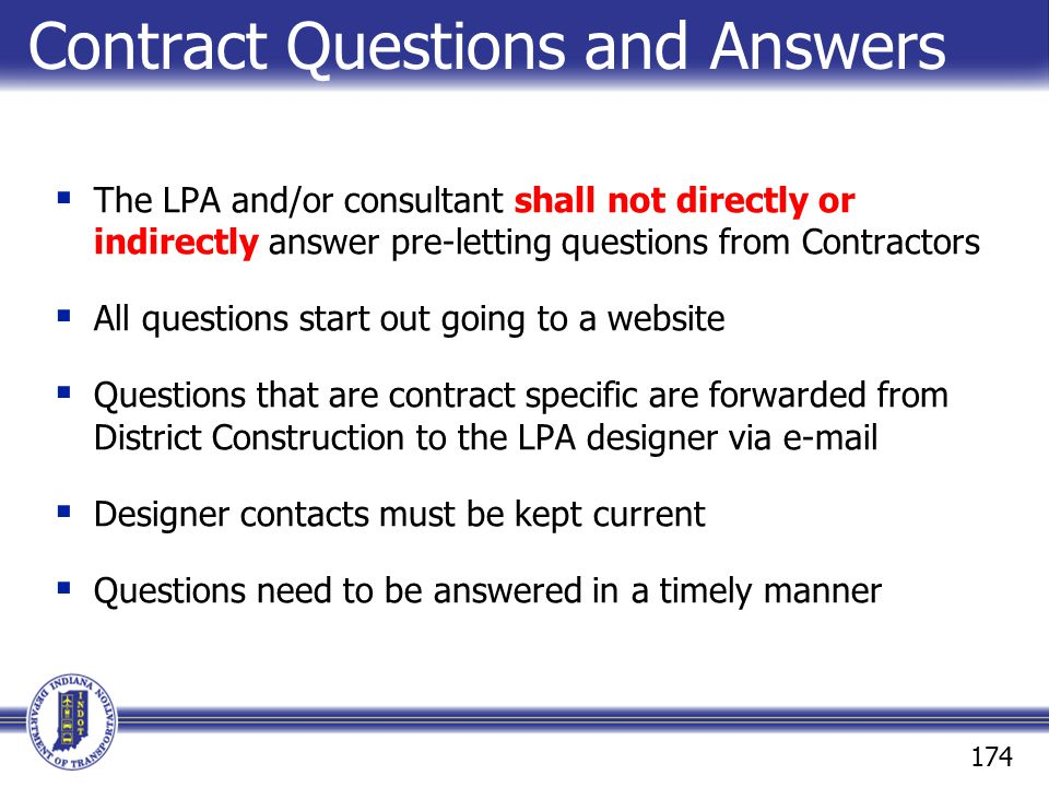 Contract Questions and Answers