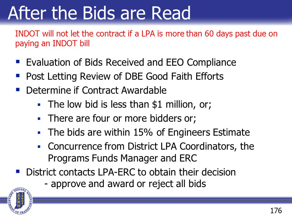 After the Bids are Read Evaluation of Bids Received and EEO Compliance