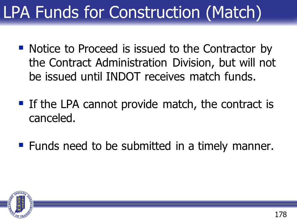 LPA Funds for Construction (Match)