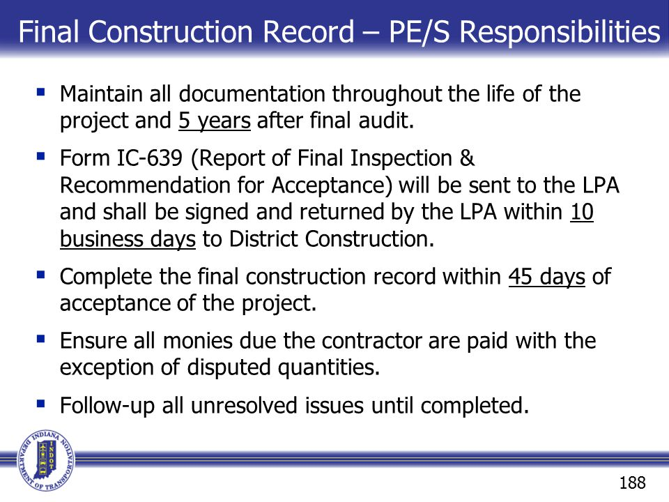 Final Construction Record – PE/S Responsibilities