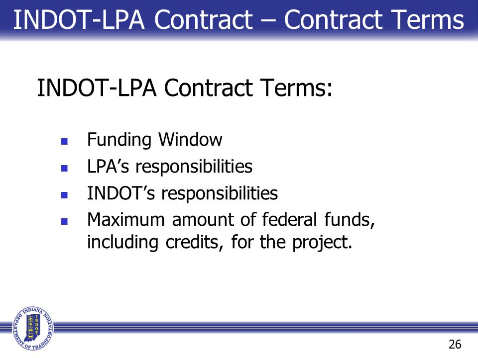 INDOT-LPA Contract – Contract Terms