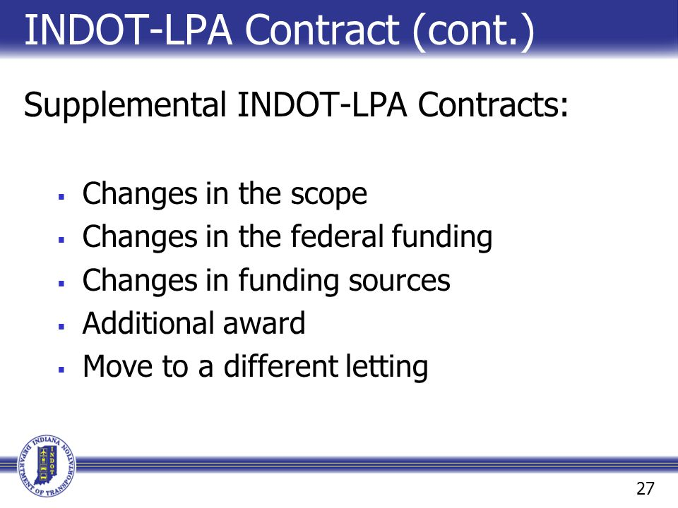 INDOT-LPA Contract (cont.)