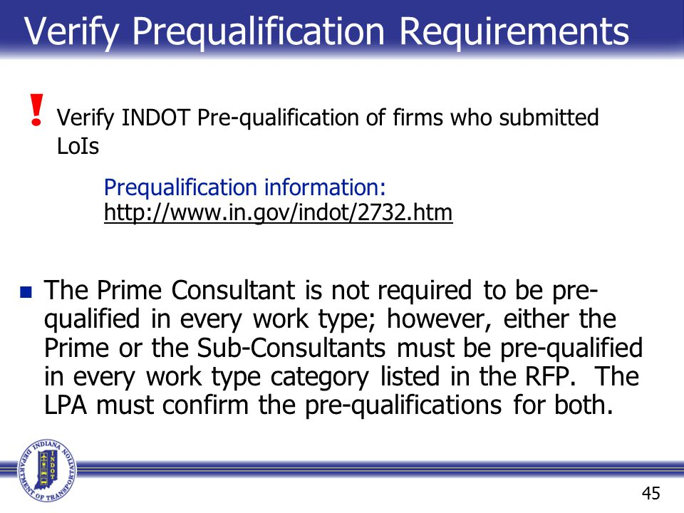 Verify Prequalification Requirements