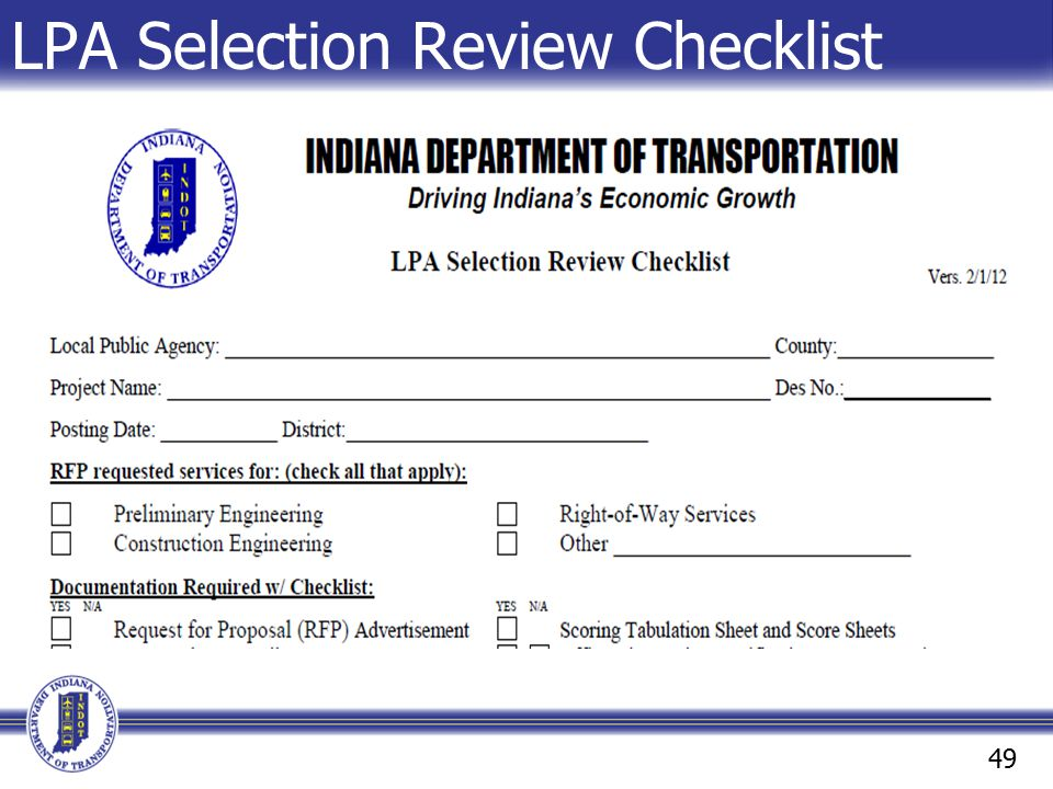 LPA Selection Review Checklist