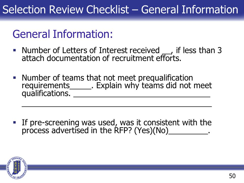 Selection Review Checklist – General Information