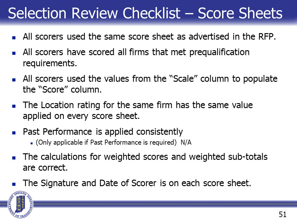 Selection Review Checklist – Score Sheets
