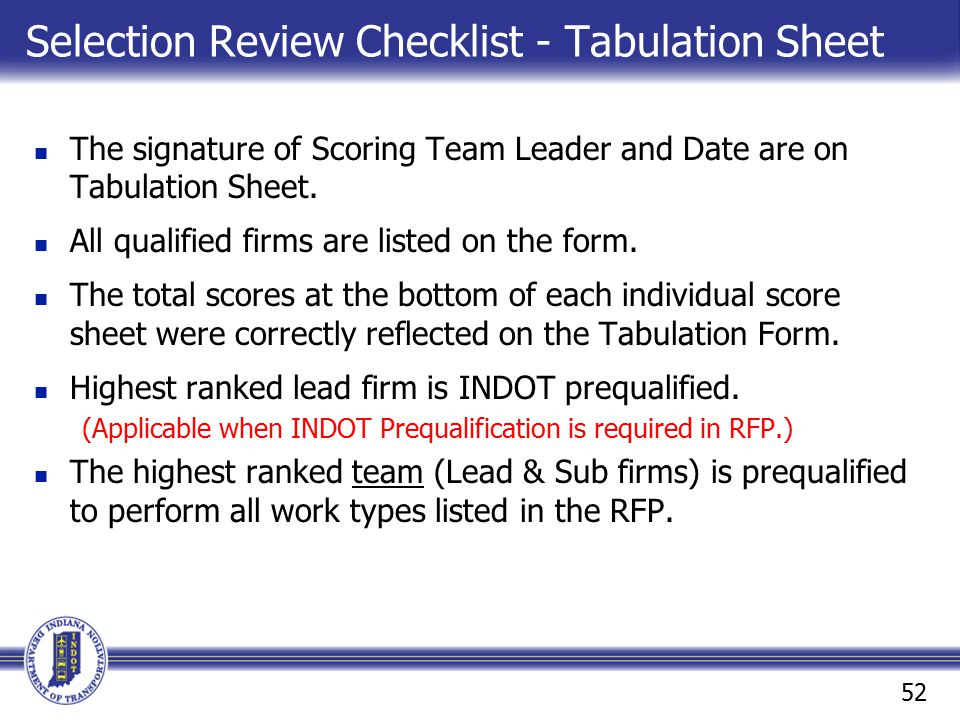 Selection Review Checklist - Tabulation Sheet
