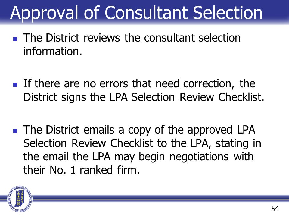 Approval of Consultant Selection