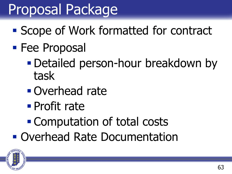 Proposal Package Scope of Work formatted for contract Fee Proposal