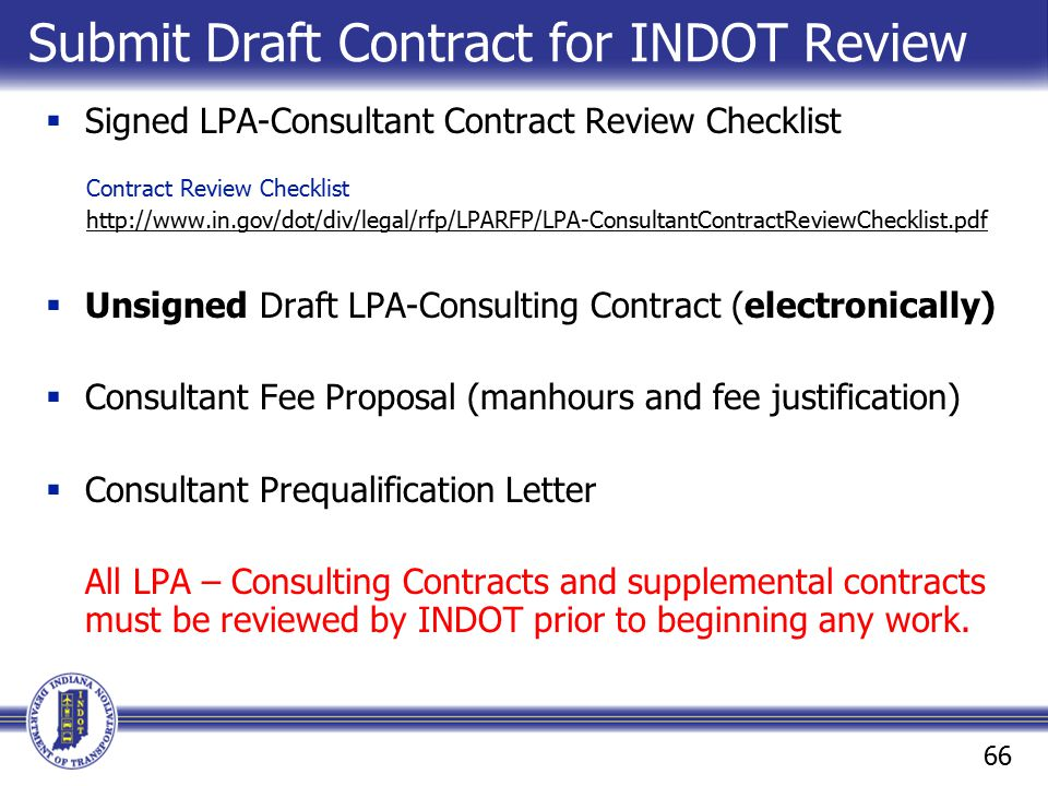 Submit Draft Contract for INDOT Review