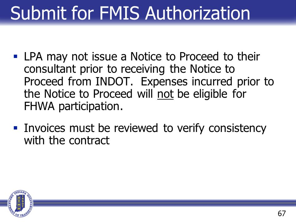 Submit for FMIS Authorization