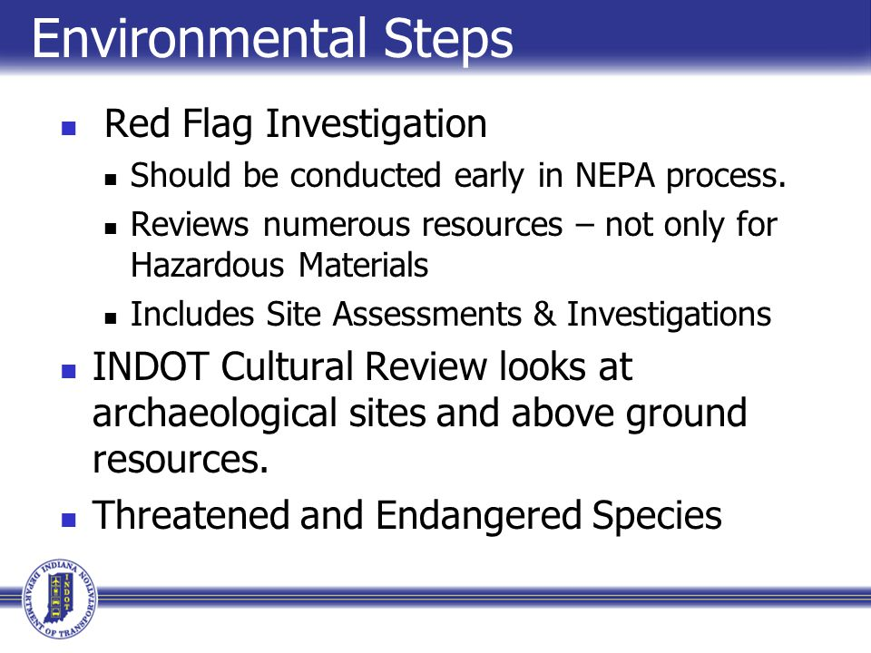 Environmental Steps Red Flag Investigation