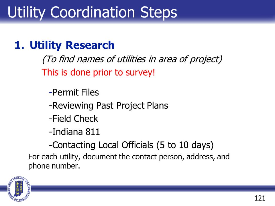 Utility Coordination Steps