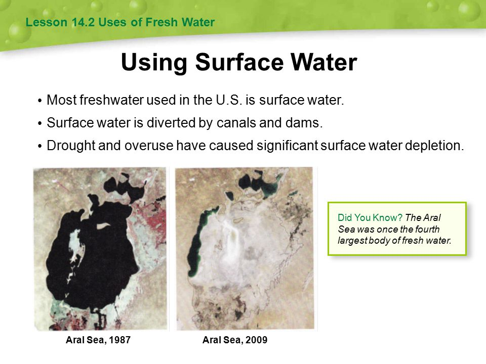 Using Surface Water Most freshwater used in the U.S. is surface water.