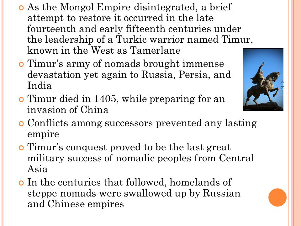 Timur died in 1405, while preparing for an invasion of China