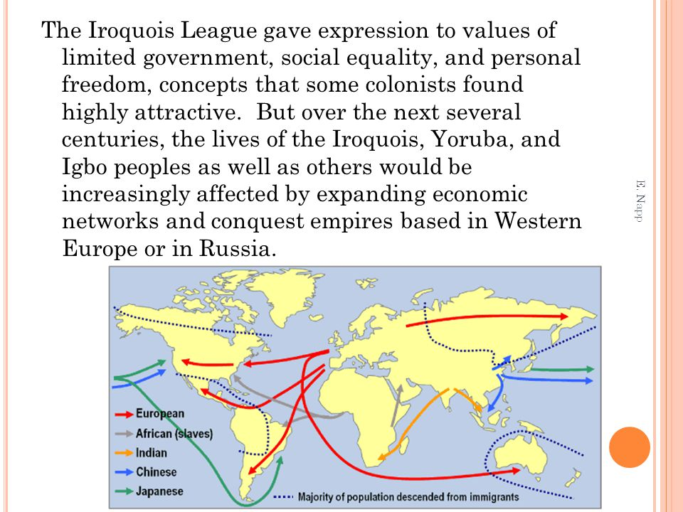 The Iroquois League gave expression to values of limited government, social equality, and personal freedom, concepts that some colonists found highly attractive. But over the next several centuries, the lives of the Iroquois, Yoruba, and Igbo peoples as well as others would be increasingly affected by expanding economic networks and conquest empires based in Western Europe or in Russia.