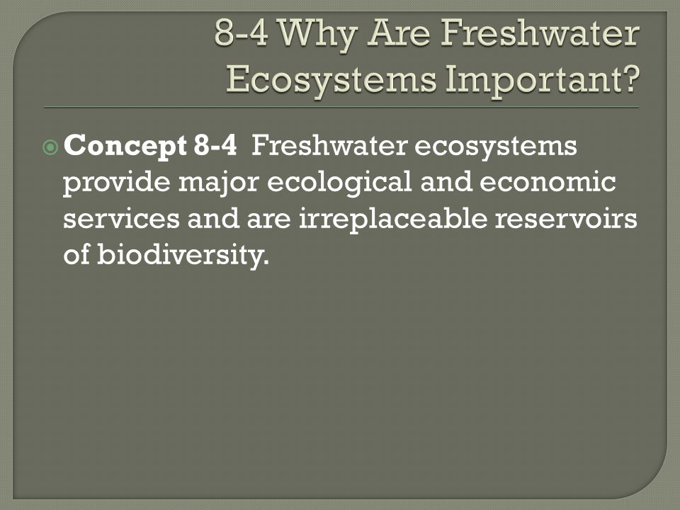 8-4 Why Are Freshwater Ecosystems Important