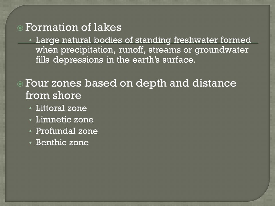 Four zones based on depth and distance from shore
