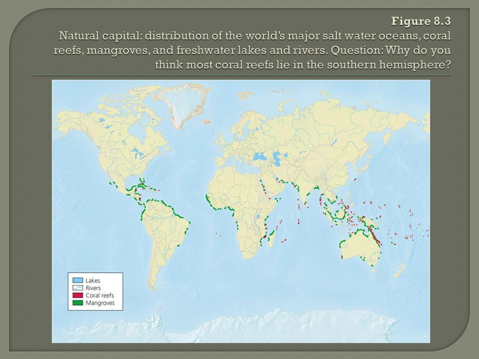 Figure 8.3 Natural capital: distribution of the world's major salt water oceans, coral reefs, mangroves, and freshwater lakes and rivers.