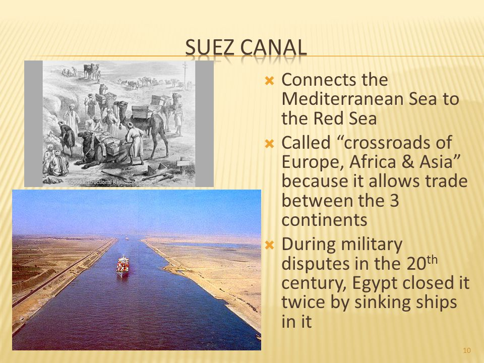 Suez Canal Connects the Mediterranean Sea to the Red Sea