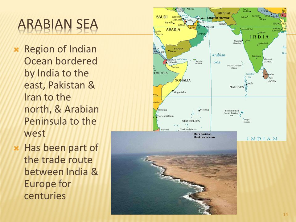 Arabian Sea Region of Indian Ocean bordered by India to the east, Pakistan & Iran to the north, & Arabian Peninsula to the west.