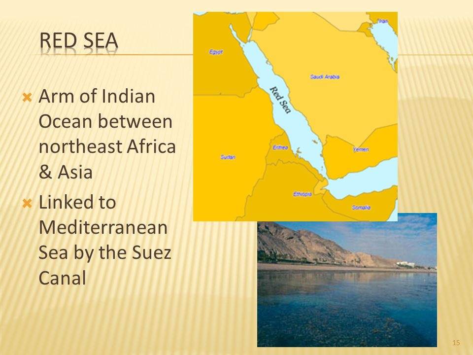 Red Sea Arm of Indian Ocean between northeast Africa & Asia