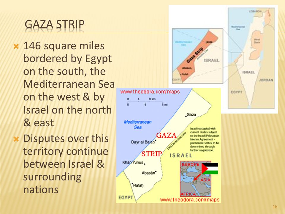 Gaza Strip 146 square miles bordered by Egypt on the south, the Mediterranean Sea on the west & by Israel on the north & east.
