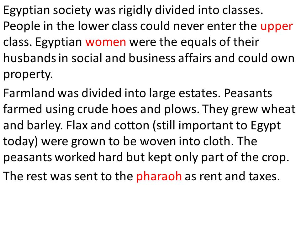 Egyptian society was rigidly divided into classes