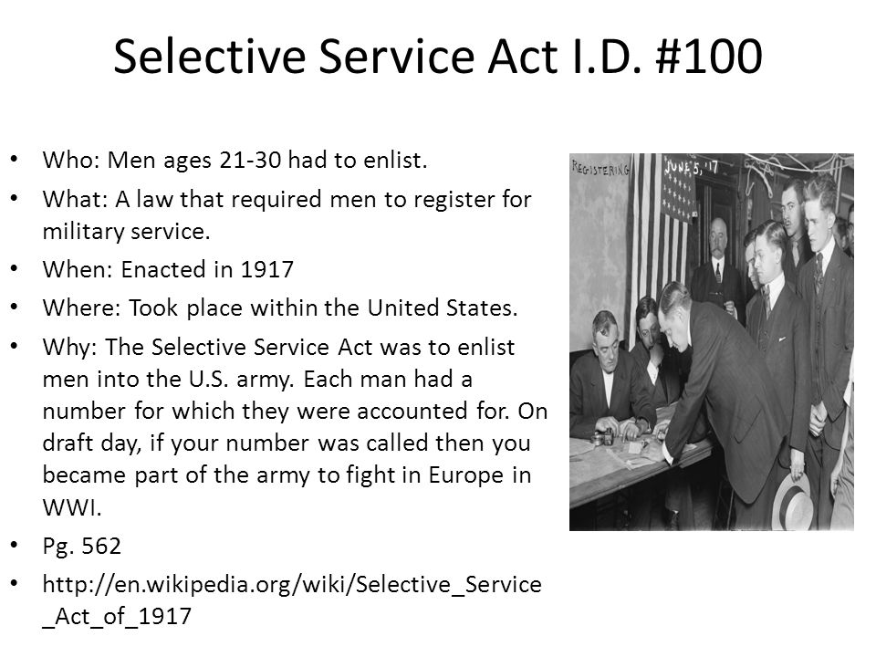 Selective Service Act I.D. #100
