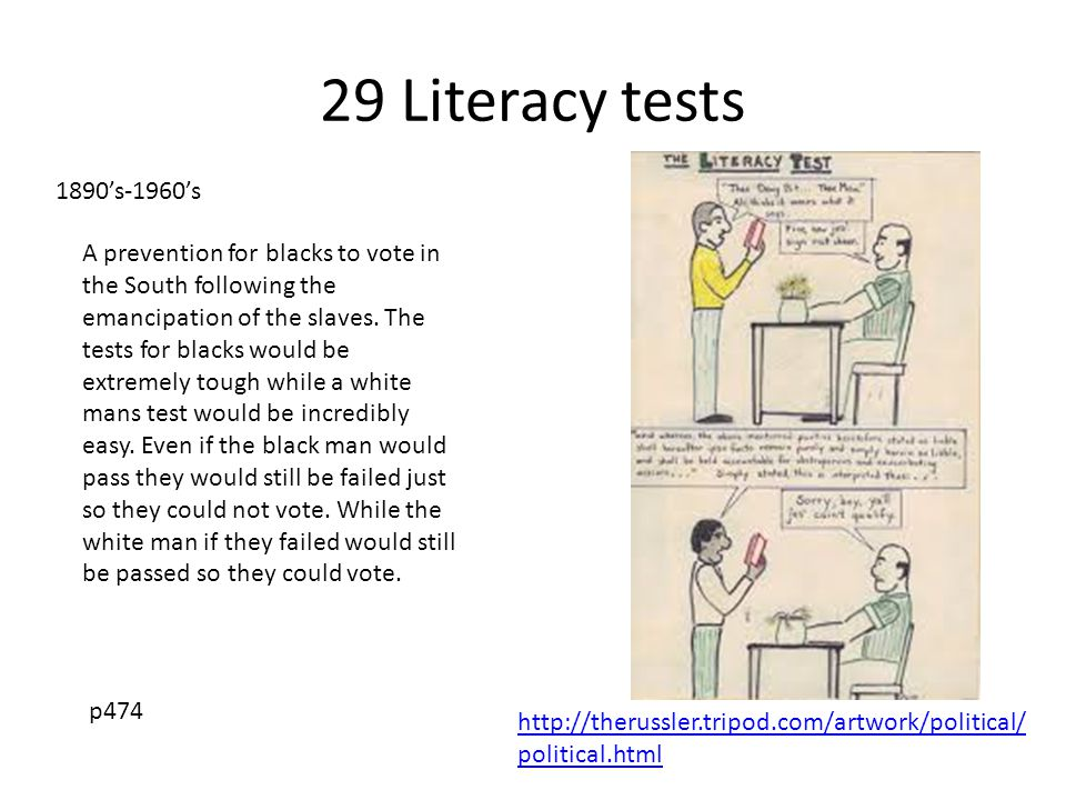 29 Literacy tests 1890's-1960's.