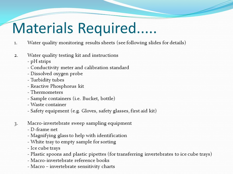 Materials Required.....