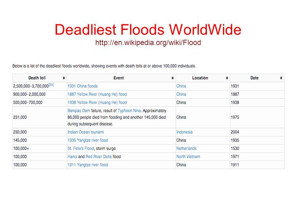 Deadliest Floods WorldWide http://en.wikipedia.org/wiki/Flood