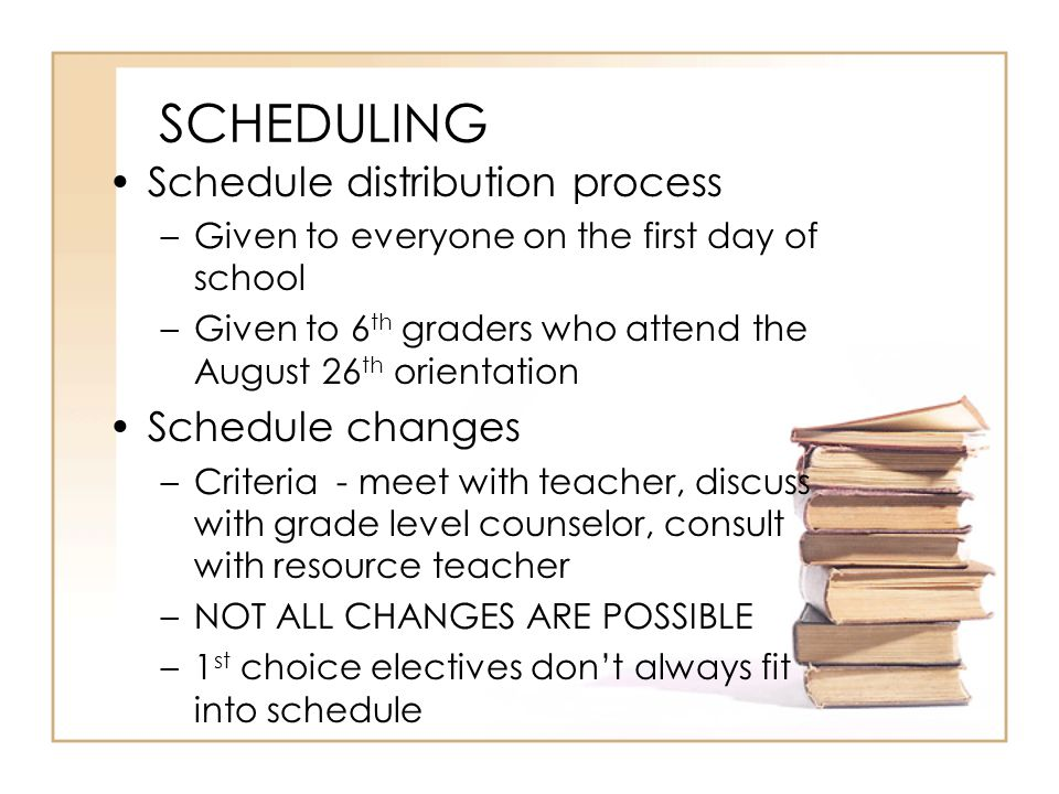 SCHEDULING Schedule distribution process Schedule changes