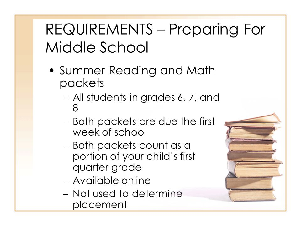 REQUIREMENTS – Preparing For Middle School