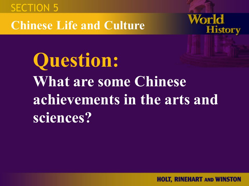 Question: What are some Chinese achievements in the arts and sciences