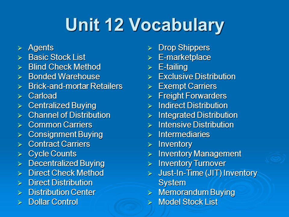 Unit 12 Vocabulary Agents Basic Stock List Blind Check Method