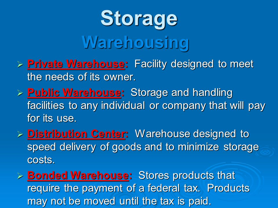 * 07/16/96. Storage. Warehousing. Private Warehouse: Facility designed to meet the needs of its owner.