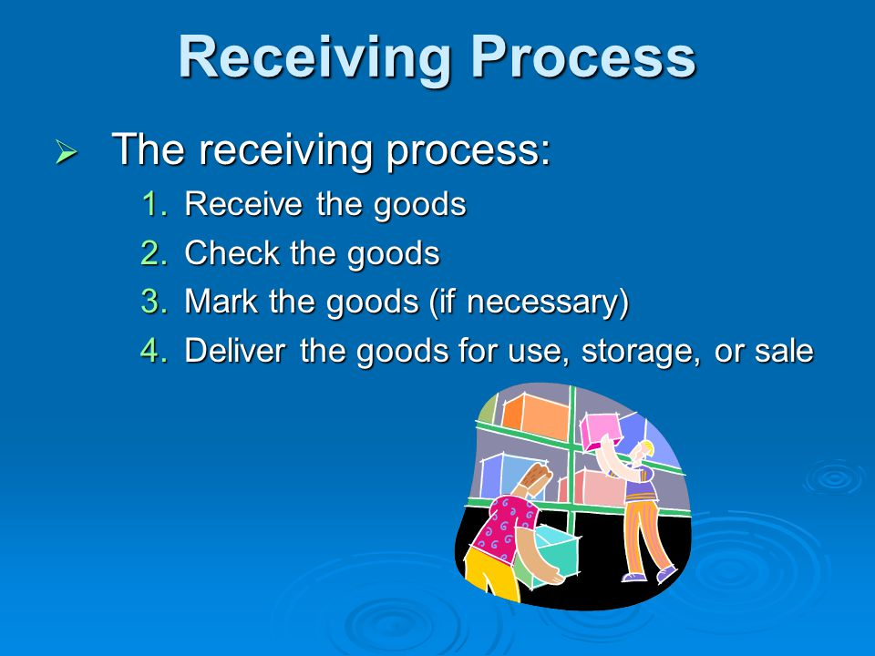 Receiving Process The receiving process: Receive the goods