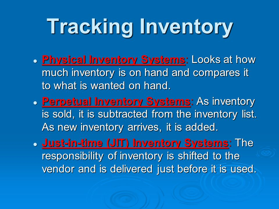 * 07/16/96. Tracking Inventory. Physical Inventory Systems: Looks at how much inventory is on hand and compares it to what is wanted on hand.
