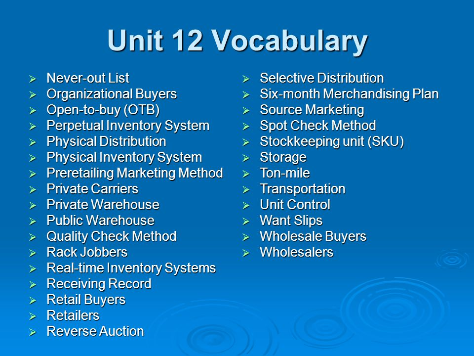 Unit 12 Vocabulary Never-out List Organizational Buyers
