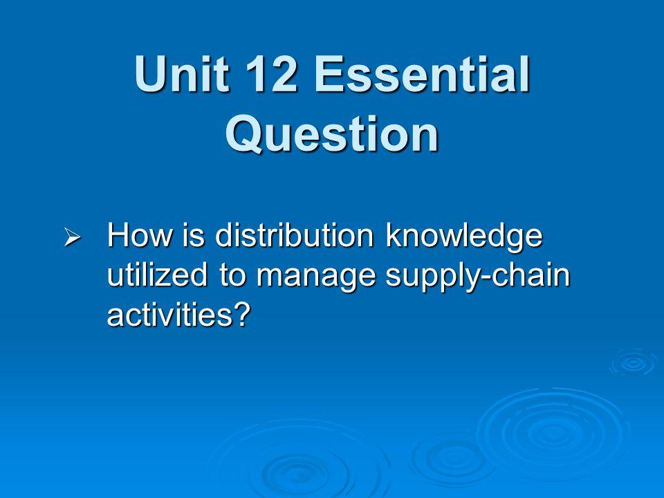Unit 12 Essential Question